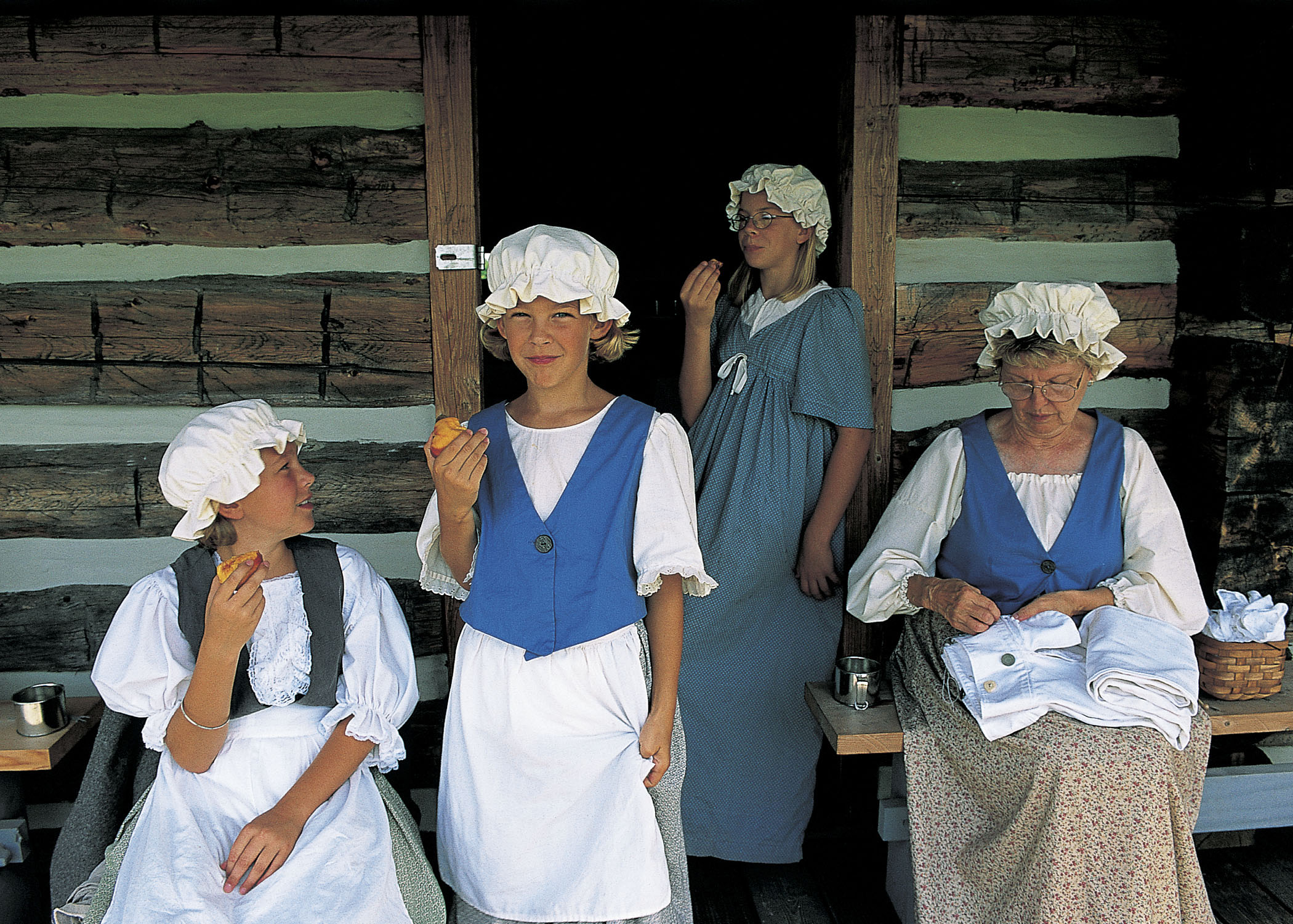 Women at Fort Atkinson in traditional dress