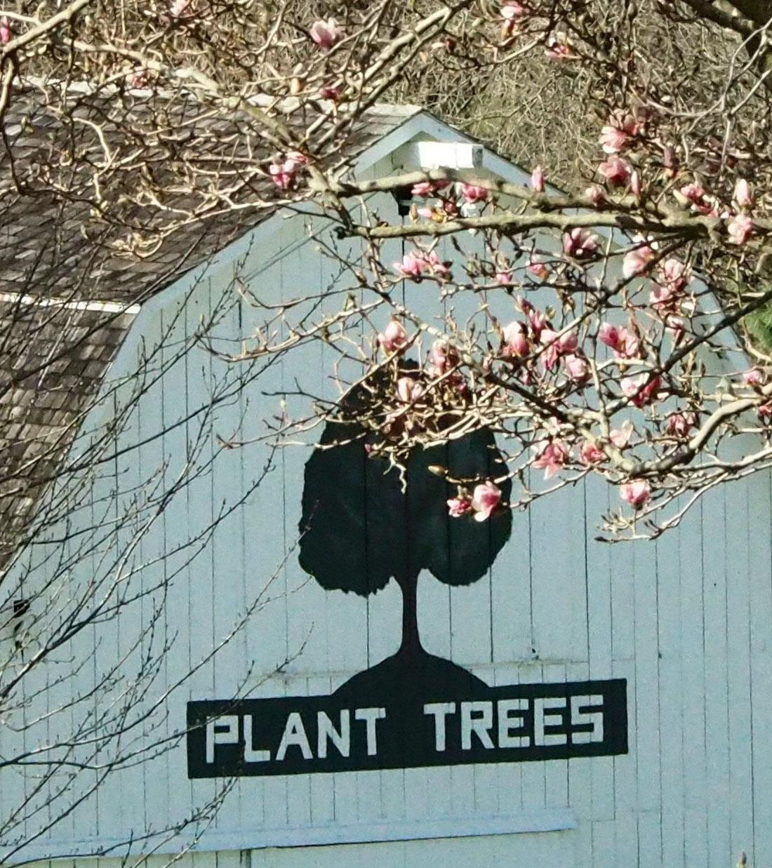 Plant Trees sign on Barn